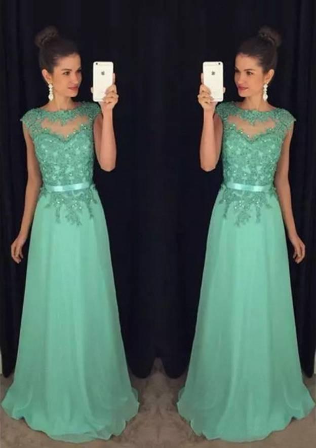 A-Line/Princess Bateau Sleeveless Long/Floor-Length Chiffon Prom Dress With Sashes Beading Lace