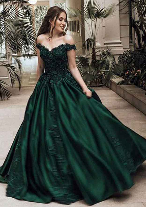 Ball Gown Off-The-Shoulder Sleeveless Sweep Train Satin Prom Dress With Appliqued Beading