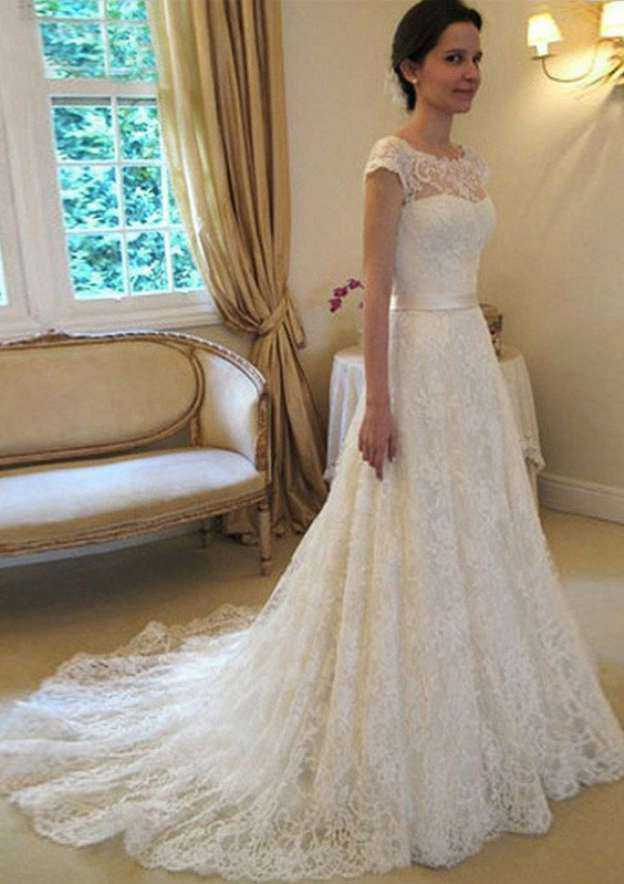 A-Line/Princess Bateau Sleeveless Court Train Lace With Waistband