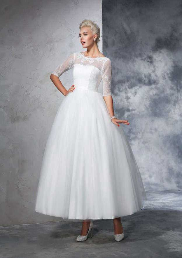 Ball Gown Bateau Half Sleeve Ankle-Length Tulle Wedding Dress With Appliqued Lace