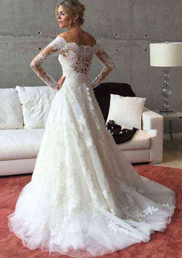 A-Line/Princess Off-The-Shoulder Full/Long Sleeve Court Train Tulle Wedding Dress With Appliqued Lace