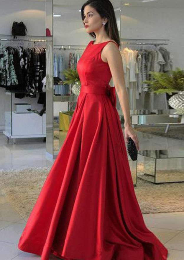 A-Line/Princess Scoop Neck Sleeveless Sweep Train Satin Prom Dress With Bowknot