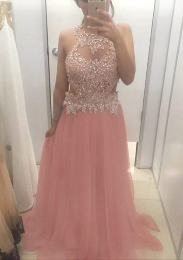 A-Line/Princess Scoop Neck Sleeveless Sweep Train Tulle Prom Dress With Lace Beading