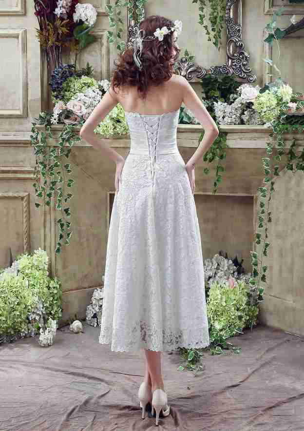 A-Line/Princess Strapless Sleeveless Tea-Length Lace Wedding Dress With Flowers Sashes