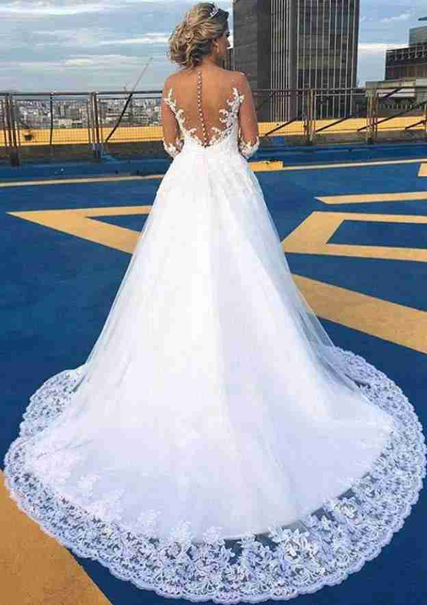 Ball Gown Scalloped Neck Full/Long Sleeve Chapel Train Tulle Wedding Dress With Beading Lace Rhinestone