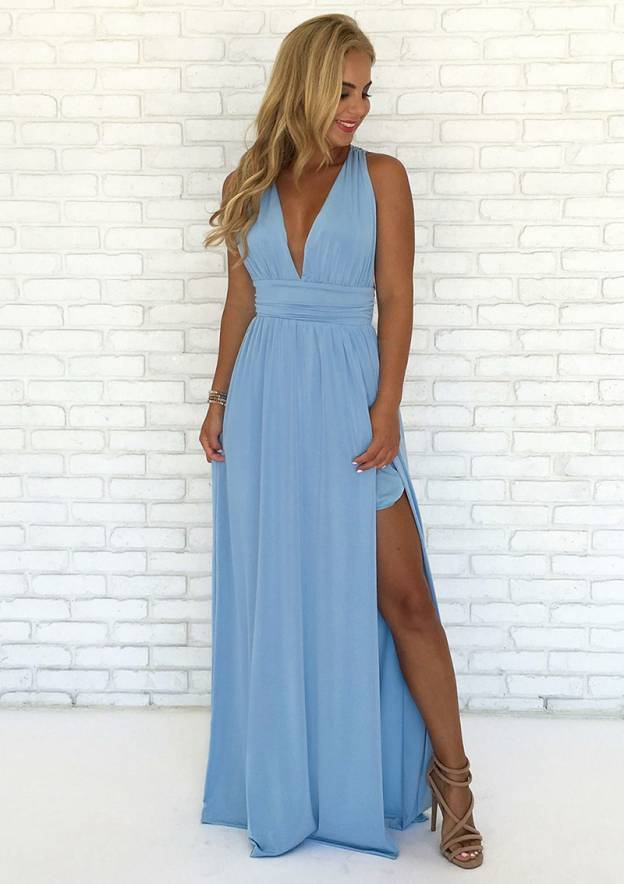 A-Line/Princess V Neck Sleeveless Long/Floor-Length Jersey Prom Dress With Split Pleated