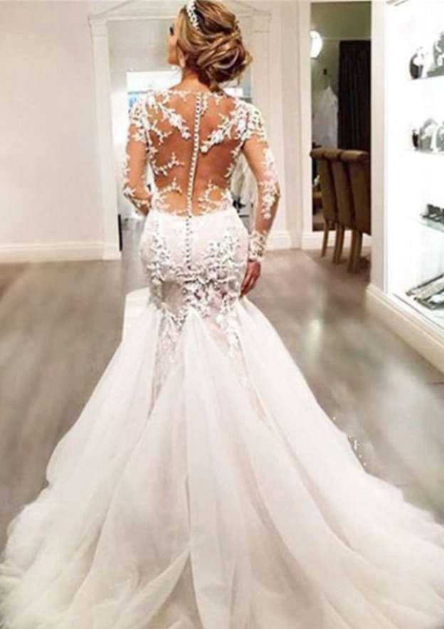 Trumpet/Mermaid Bateau Full/Long Sleeve Chapel Train Tulle Wedding Dress With Appliqued Beading