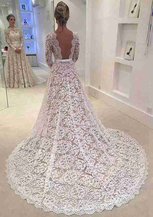 A-Line/Princess Scalloped Neck Full/Long Sleeve Court Train Lace Wedding Dress With Bowknot Lace Waistband