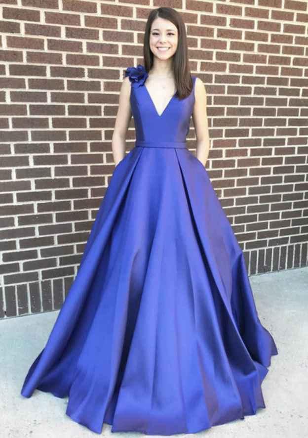 A-Line/Princess V Neck Sleeveless Long/Floor-Length Satin Prom Dress With Shoulder Flower
