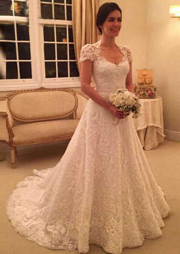A-Line/Princess Sweetheart Short Sleeve Court Train Lace Wedding Dress