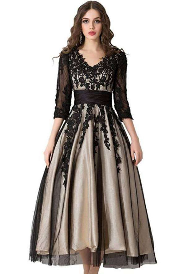 A-Line/Princess V Neck Half Sleeve Tea-Length Tulle Prom Dress With Appliqued