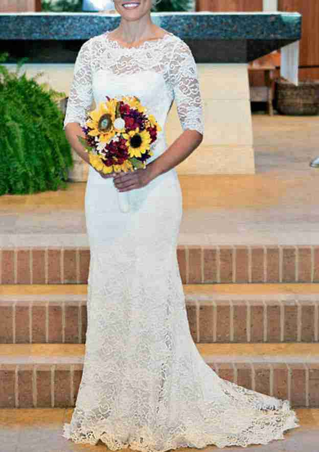 Sheath/Column Scalloped Neck Half Sleeve Sweep Train Lace Wedding Dress