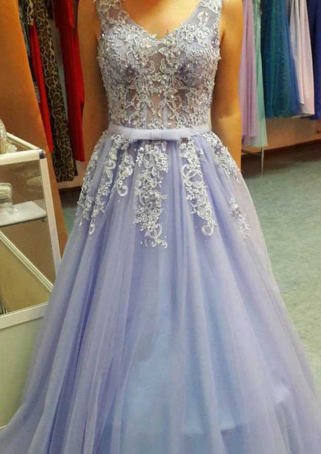 A-Line/Princess V Neck Sleeveless Sweep Train Tulle Prom Dress With Waistband Lace