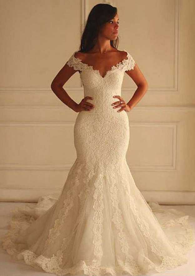 Trumpet/Mermaid Off-The-Shoulder Sleeveless Chapel Train Lace Wedding Dress With Appliqued