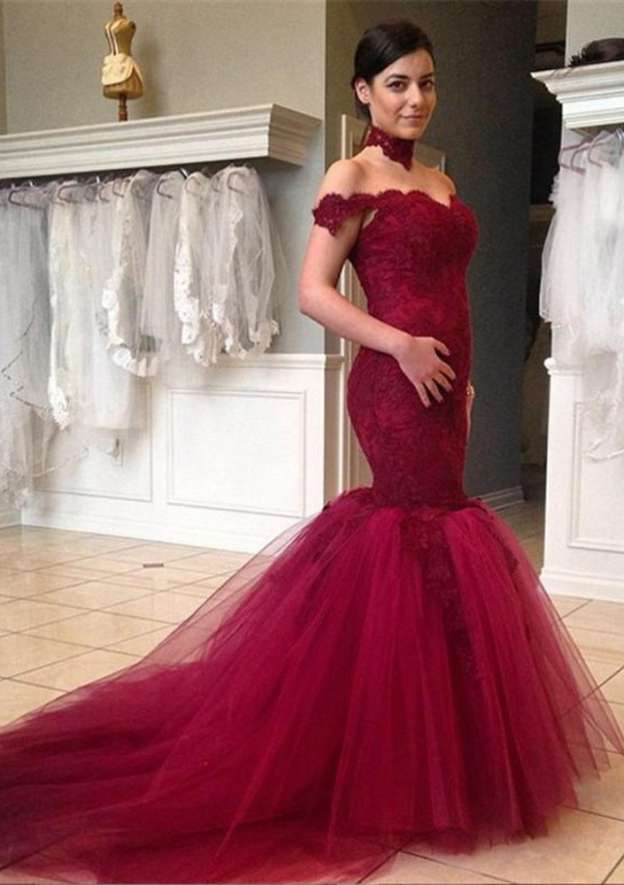Trumpet/Mermaid Off-The-Shoulder Sleeveless Chapel Train Tulle Prom Dress With Lace