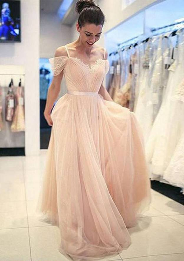 A-Line/Princess Sweetheart Sleeveless Sweep Train Tulle Prom Dress