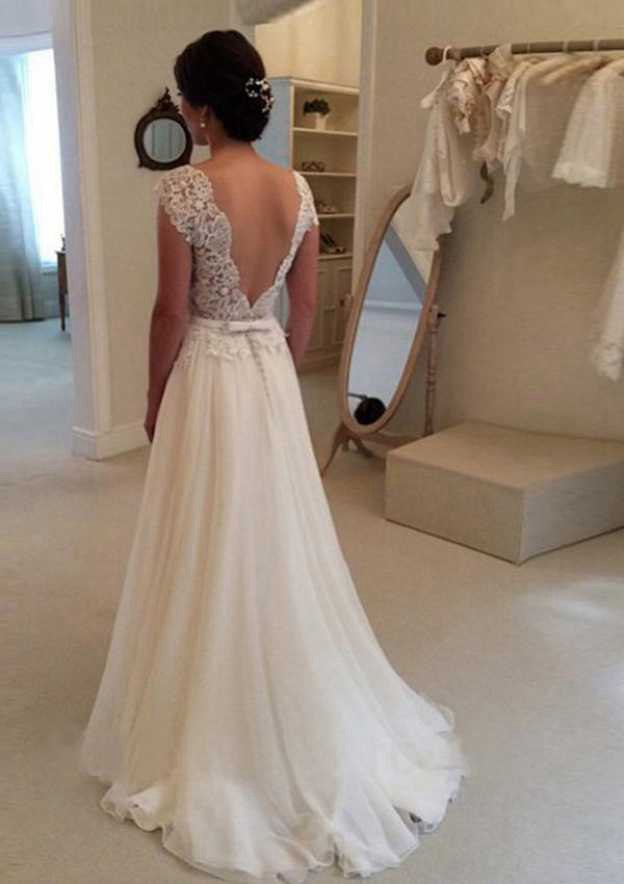 A-Line/Princess Bateau Sleeveless Long/Floor-Length Chiffon Wedding Dress With Appliqued