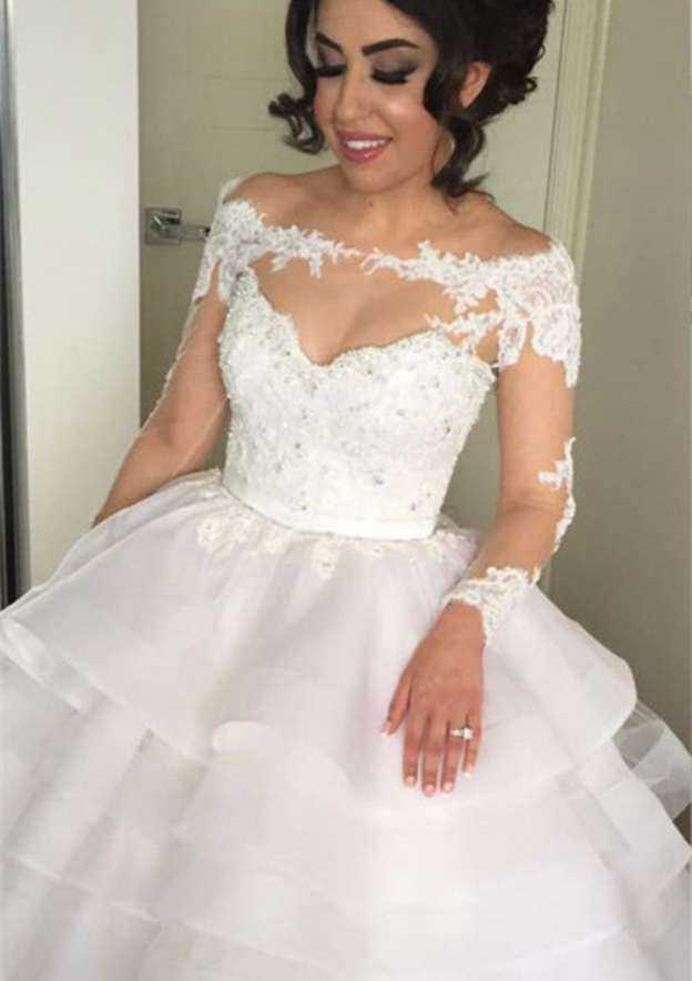 Ball Gown Off-The-Shoulder Full/Long Sleeve Court Train Organza Wedding Dress With Appliqued Beading