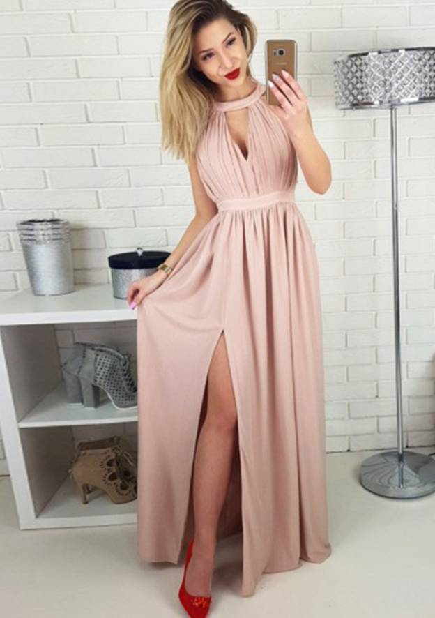 A-Line/Princess Scoop Neck Sleeveless Long/Floor-Length Charmeuse Prom Dress With Split Pleated