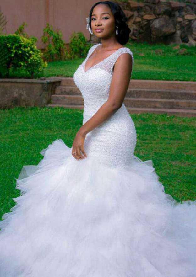 Trumpet/Mermaid V Neck Sleeveless Chapel Train Tulle Wedding Dress With Beading Ruffles