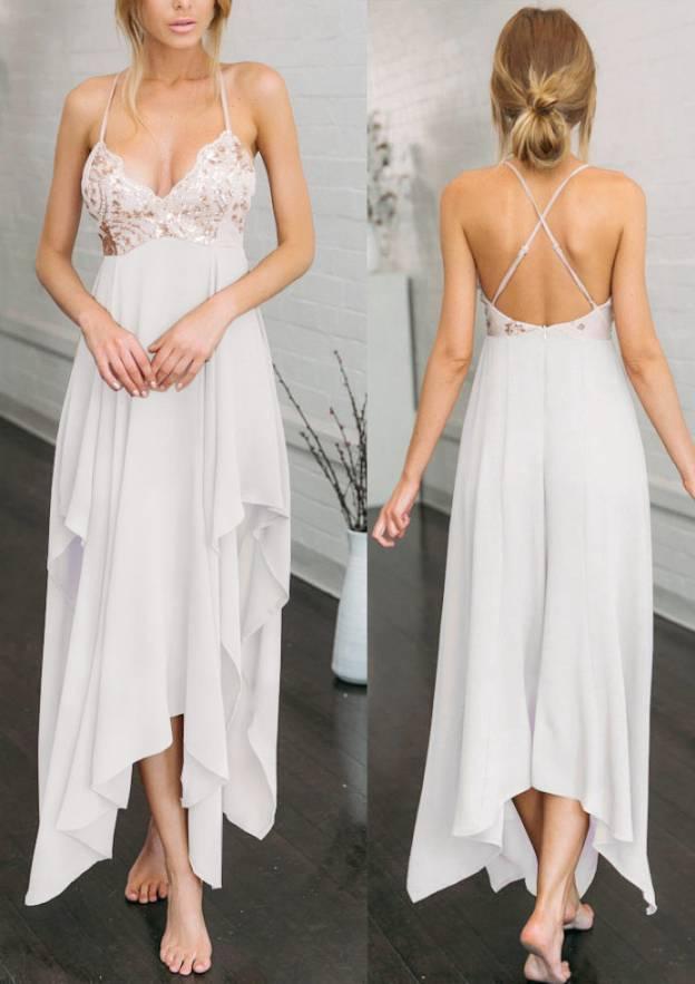 A-Line/Princess Sweetheart Sleeveless Asymmetrical Chiffon Prom Dress With Lace