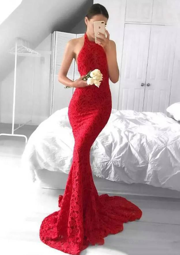 Trumpet/Mermaid Halter Sleeveless Sweep Train Lace Evening Dress
