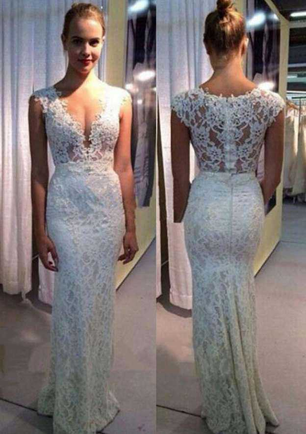 Sheath/Column V Neck Sleeveless Long/Floor-Length Lace Wedding Dress With Appliqued Beading