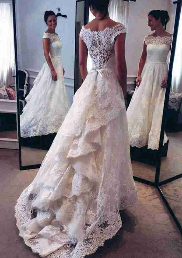 A-Line/Princess Off-The-Shoulder Sleeveless Court Train Lace Wedding Dress With Appliqued Bowknot Sashes