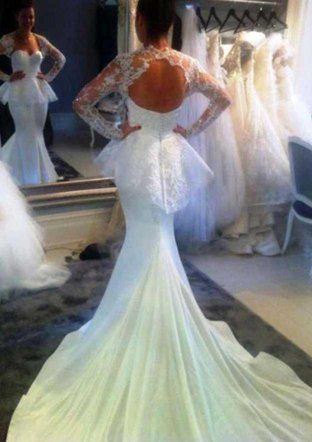 Trumpet/Mermaid Sweetheart Full/Long Sleeve Chapel Train Elastic Satin Wedding Dress With Lace