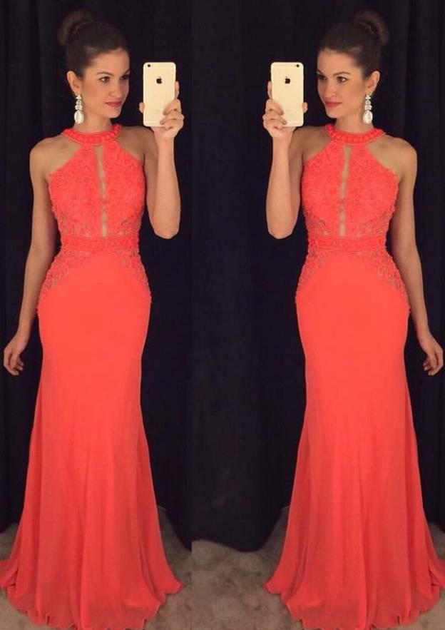 Sheath/Column Scoop Neck Sleeveless Long/Floor-Length Chiffon Prom Dress With Lace