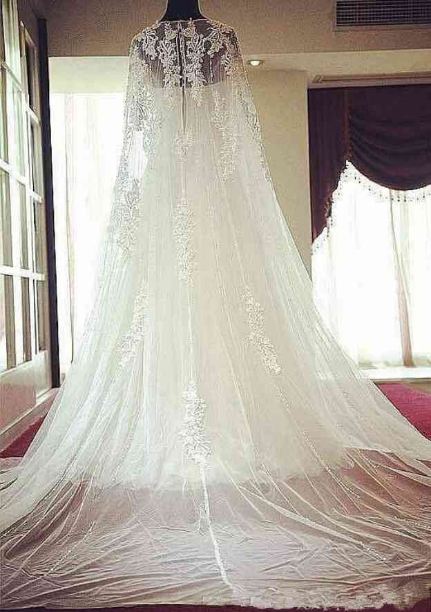 A-Line/Princess Bateau Sleeveless Chapel Train Tulle Wedding Dress With Appliqued Lace Crystal Detailing