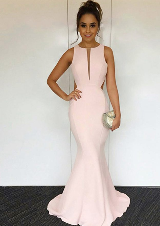 Trumpet/Mermaid Scoop Neck Sleeveless Sweep Train Elastic Satin Prom Dress