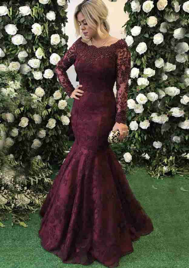 Trumpet/Mermaid Scalloped Neck Full/Long Sleeve Sweep Train Lace Evening Dress With Beading Appliqued