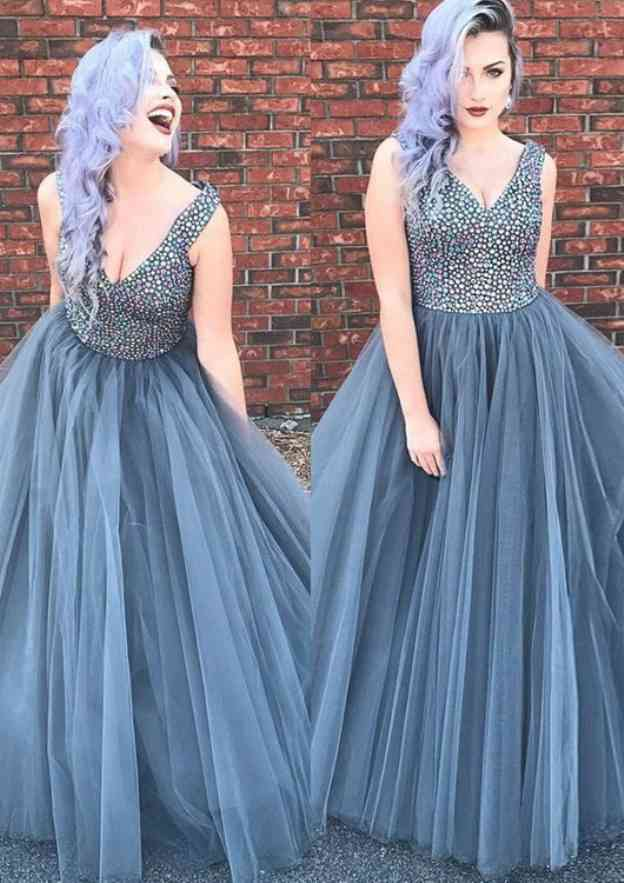 Ball Gown V Neck Sleeveless Long/Floor-Length Tulle Prom Dress With Beading