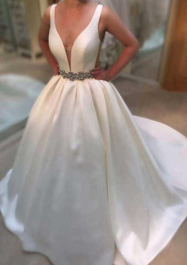 Ball Gown V Neck Sleeveless Chapel Train Taffeta Wedding Dress With Beading