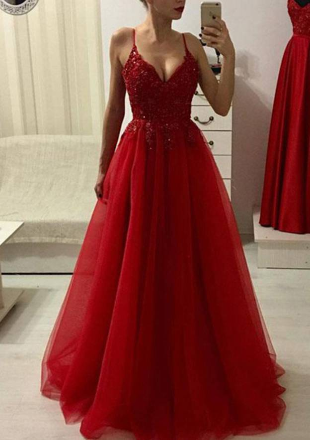 A-Line/Princess V Neck Sleeveless Long/Floor-Length Prom Dress With Appliqued Beading