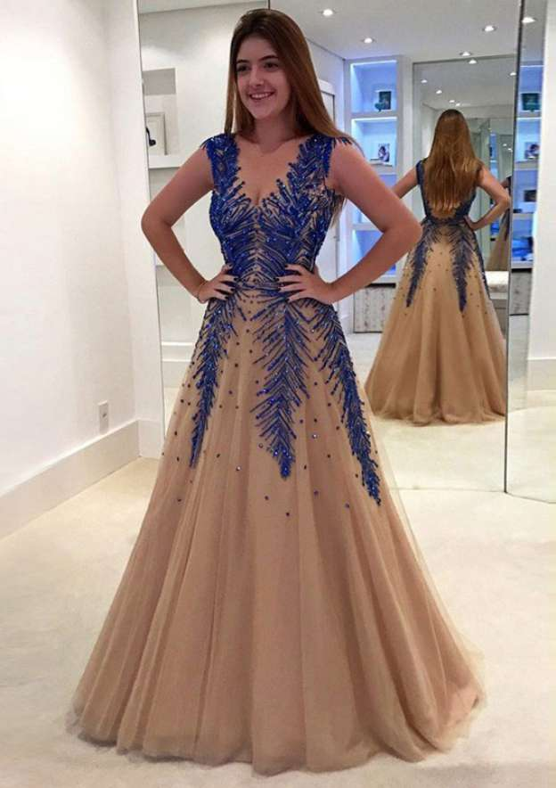 A-Line/Princess V Neck Sleeveless Long/Floor-Length Tulle Prom Dress With Appliqued Beading