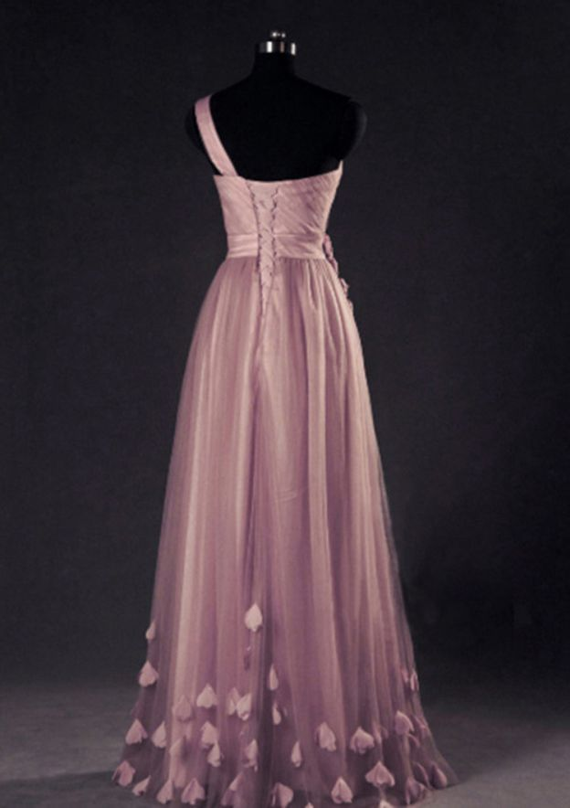 A-Line/Princess One-Shoulder Sleeveless Long/Floor-Length Tulle Prom Dress With Flowers Sashes