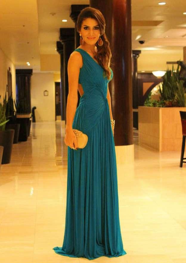 A-Line/Princess One-Shoulder Sleeveless Sweep Train Chiffon Prom Dress With Pleated