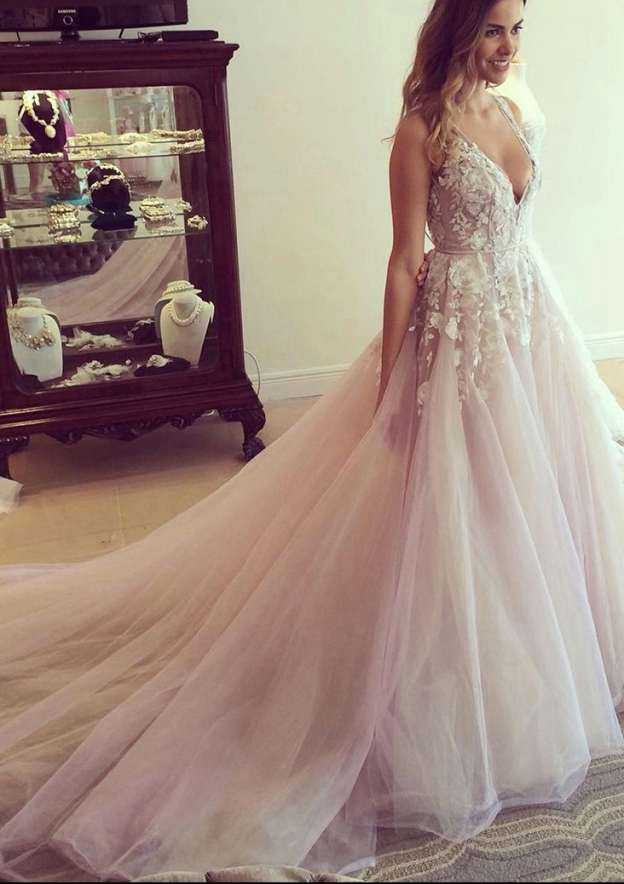 Ball Gown V Neck Sleeveless Cathedral Train Tulle Prom Dress With Appliqued