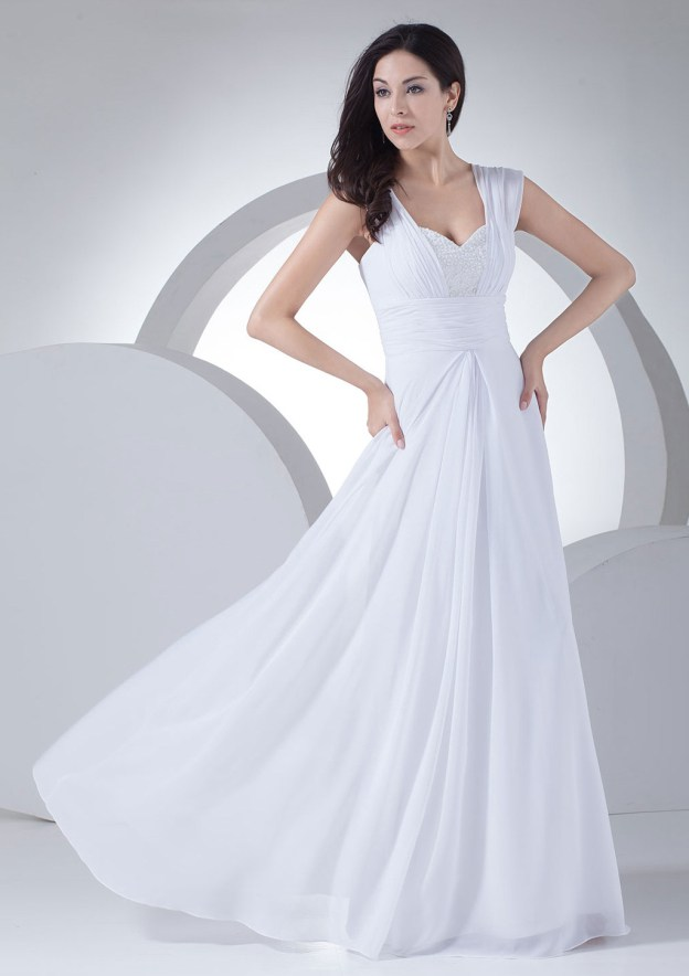 A-Line/Princess Sweetheart Sleeveless Long/Floor-Length Chiffon Prom Dress With Beading Pleated