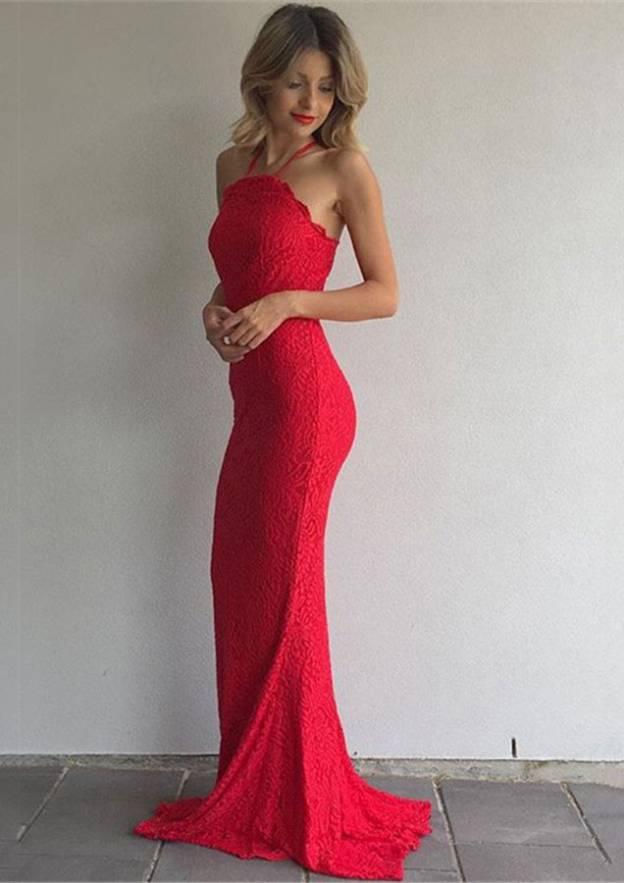 Sheath/Column Halter Sleeveless Sweep Train Lace Prom Dress