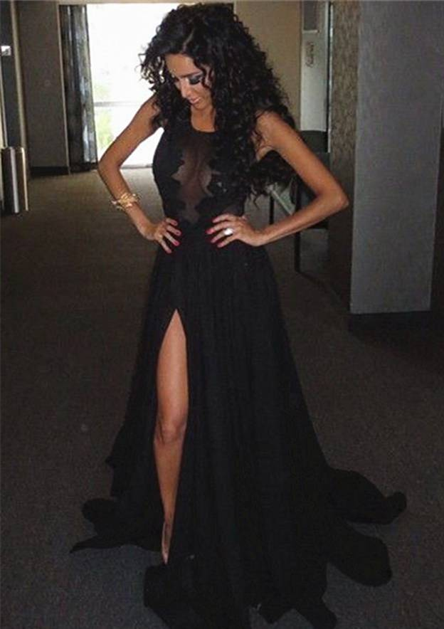 A-Line/Princess Scoop Neck Sleeveless Sweep Train Chiffon Evening Dress With Lace Appliqued