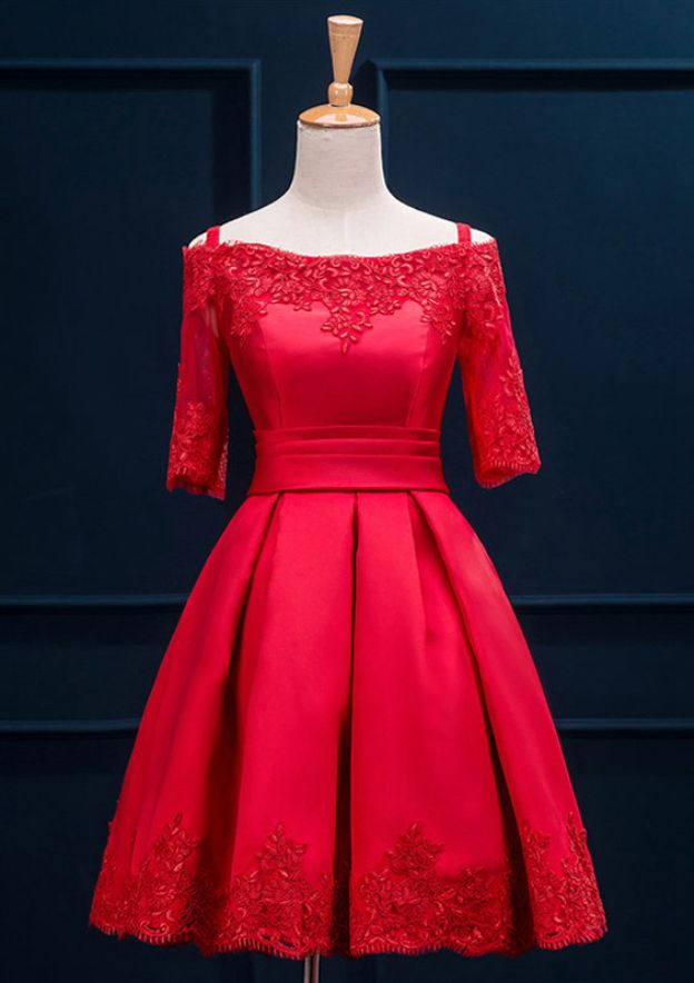 A-Line/Princess Off-The-Shoulder Half Sleeve Short/Mini Satin Homecoming Dress With Pleated Appliqued