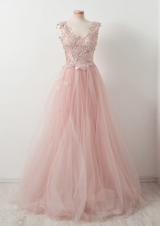 A-Line/Princess Scalloped Neck Sleeveless Sweep Train Tulle Prom Dress With Lace