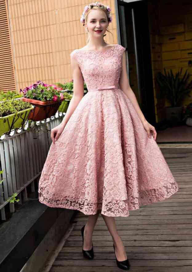 Ball Gown Bateau Sleeveless Tea-Length Lace Prom Dress With Waistband Beading Bowknot