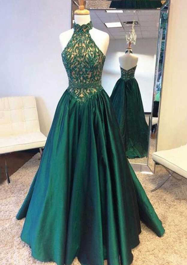 A-Line/Princess Halter Sleeveless Sweep Train Taffeta Prom Dress With Appliqued Lace