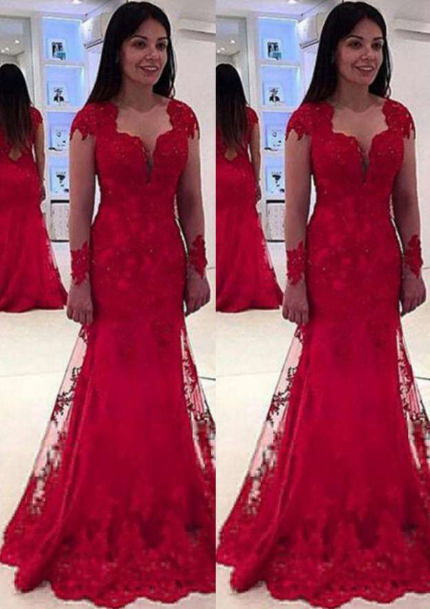 Sheath/Column Scalloped Neck Full/Long Sleeve Sweep Train Lace Prom Dress With Appliqued Beading