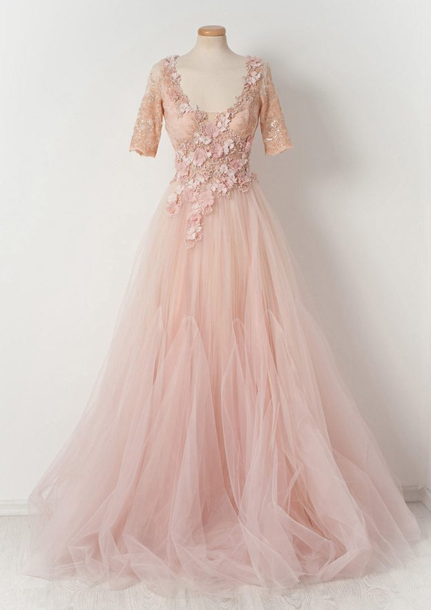 A-Line/Princess Scoop Neck Half Sleeve Sweep Train Tulle Prom Dress With Flowers Beading Lace