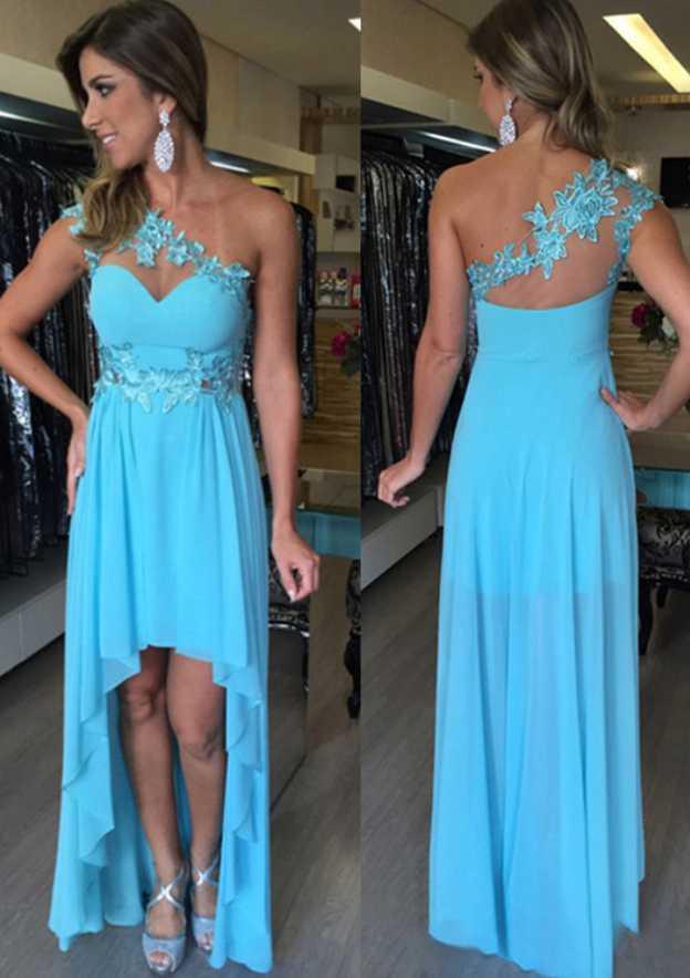 A-Line/Princess One-Shoulder Sleeveless Asymmetrical Chiffon Prom Dress With Appliqued